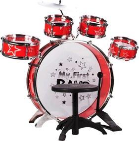 Set tobe de jucarie My first band, 5 tobe cu bete si scaunel inclus, culoare rosu