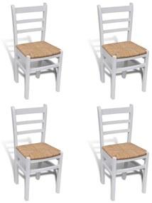 241253 vidaXL Scaune de bucătărie, 4 buc., alb, lemn de pin și stuf