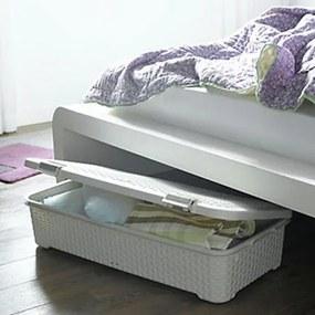 Cutie pentru depozitare sub pat, cu roti si capac, 40x79x18 cm