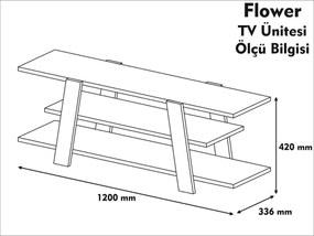 Comoda Tv Flower - Galben/Nuc
