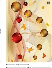 Fototapet GLIX - 3D Abstract Yellow Red + adeziv GRATUIT Papírová tapeta  - 184x254 cm