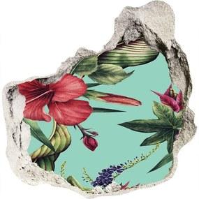 Fototapet 3D gaură în perete Flori tropicale