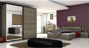 Dormitor complet, stejar sonoma închis, BETINO