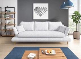 Canapea extensibila cu lada de depozitare, tapitata cu stofa 3 locuri Monte Gri deschis, l242xA110xH75 cm + Covor Bonus