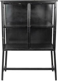 Comoda cu 2 usi din fier negru si sticla 86 cm x 40 cm x 125 h