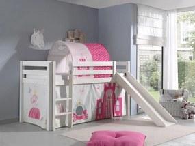Pat etajat din lemn de pin, cu tunel si tobogan pentru copii Pino Princess Alb, 200 x 90 cm