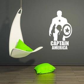 Avengers Captain America - autocolant de perete Alb 90x50 cm
