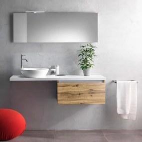 Set de baie cu 6 piese PERTH, Melamina Aluminiu Abs Sticla Ceramica Metal, Gri, 142x46x190 cm