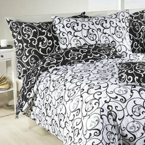Lenjerie de pat din bumbac VERONIKA alb-negru lungime standard