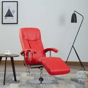 248596 vidaXL Scaun de masaj, roșu, piele ecologică