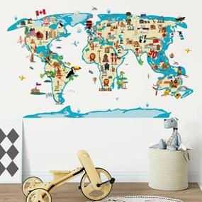 Autocolant de perete Ambiance World Map Ethnic Tour