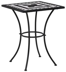 46707 vidaXL Masă de bistro mozaic, negru și alb, 60 cm, ceramică