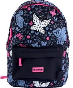 Ghiozdan gimnaziu Pigna Fly Butterfly negru-roz MCRS1722-3