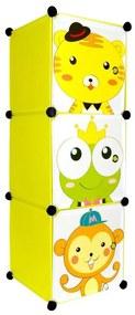 Dulap din plastic cu 3 compartimente pentru copii, 37x37x111 cm