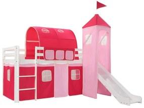 282710 vidaXL Cadru pat etajat copii cu tobogan & scară 208x230 cm lemn pin