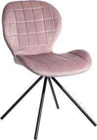 Scaun roz deschis din catifea cu picioare negre Room Ixia