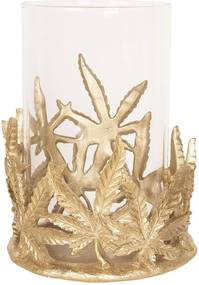 Suport lumanare din metal auriu cu pahar sticla Ø 19 cm x 26 h