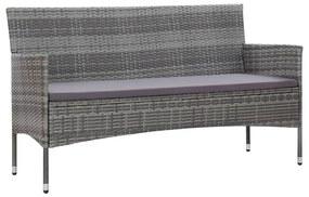45898 vidaXL Canapea de grădină cu perne cu 3 locuri, gri, poliratan