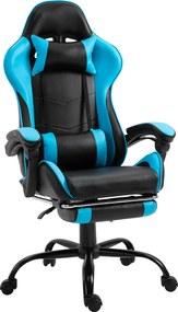 Fotoliu birou/gaming cu suport pentru picioare, negru/albastru, TARUN