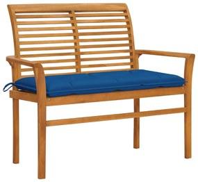 3062674 vidaXL Bancă de grădină, cu pernă albastră, 112 cm, lemn masiv de tec