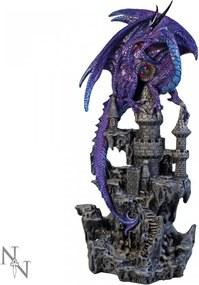 Statueta dragon pe castel Regatul violet 31 cm