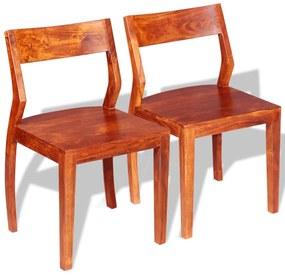 243956 vidaXL Scaune de bucătărie 2 buc, lemn masiv de acacia și sheesham