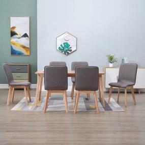 276930 vidaXL Scaune bucătărie, 6 buc. gri taupe, textil & lemn stejar masiv