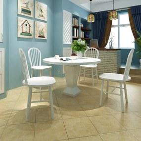 242027 vidaXL Scaune de bucătărie 4 buc., lemn, rotund, alb