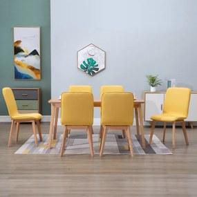 276928 vidaXL Scaune de bucătărie, 6 buc, galben, textil & lemn stejar masiv