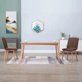 248914 vidaXL Scaune de bucătărie 2 buc, maro, textil & lemn de stejar masiv