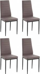 Set de 4 scaune Sandy, piele sintetica/metal, cappucino/negru, 42 x 53 x 96 cm
