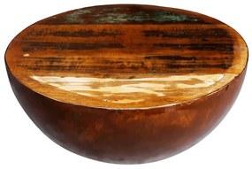 241648 vidaXL Măsuță cafea, formă de bol, bază din oțel, lemn masiv reciclat