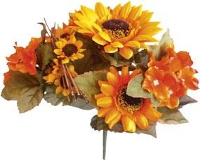 Buchet din flori artificiale - Floarea-soarelui și hortensii