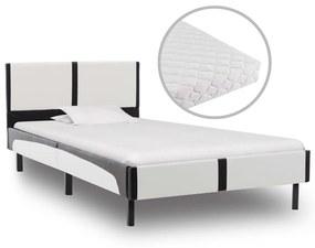 277525 vidaXL Pat cu saltea, alb și negru, 90 x 200 cm, piele ecologică