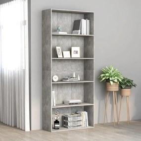 801030 vidaXL Bibliotecă cu 5 rafturi, gri beton, 80 x 30 x 189 cm, PAL