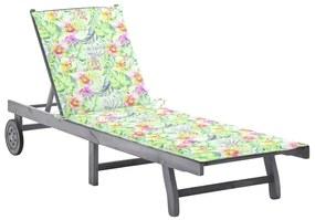 3061371 vidaXL Șezlong de grădină cu pernă, gri, lemn masiv de acacia