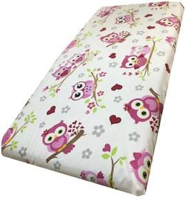 Cearsaf cu elastic pe colt 120x60 cm Bufnite indragostite cu roz