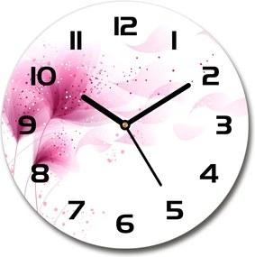 Ceas de sticlă pe perete rotund Floare roz