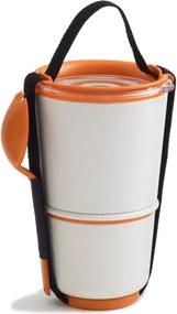 Bol pentru gustări Black + Blum Lunch Pot, alb - portocaliu