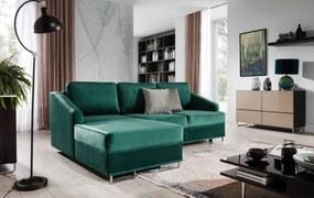 Coltar extensibil cu sezlong pe stanga, tapitat cu stofa, Bucco Verde, l225xA160xH76 cm + Covor Bonus