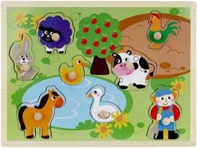 Puzzle educativ din lemn, Ferma, 9 piese, multicolor