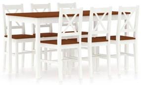 283378 vidaXL Set mobilier de bucătărie, 7 piese, alb și maro, lemn de pin