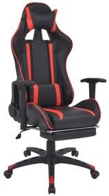 20168 vidaXL Scaun birou rabatabil, design racing, suport picioare, roșu