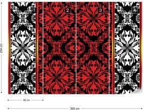 Fototapet GLIX - Red Pattern 2 + adeziv GRATUIT Papírová tapeta  - 184x254 cm