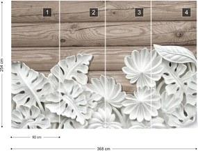 Fototapet GLIX - Vintage Chic 3D Carved White Flowers Wood Plank  + adeziv GRATUIT Tapet nețesute  - 368x254 cm