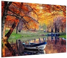 Tablou de toamnă cu barcă (K012534K7050)