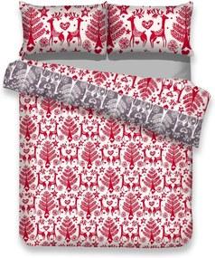 Lenjerie de pat din flanel cu motive de Crăciun pentru pat dublu AmeliaHome Rudolph, 200 x 220 cm