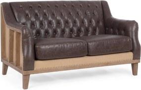 Canapea 2 locuri cu cadru din lemn si tapiterie piele ecologica maro Raymond 140 cm x 85 cm x 85 h x 49 h1 x 63.5 h2