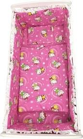 Croitoria Noastra - Lenjerie de patut bebelusi 5 piese cu aparatori laterale pe burete CN Hello Kitty roz