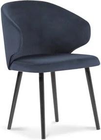 Scaun cu tapițerie de catifea Windsor & Co Sofas Nemesis, albastru închis